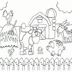 Farm Animals Coloring Pages Preschool | printable preschool coloring page of happy farm animals