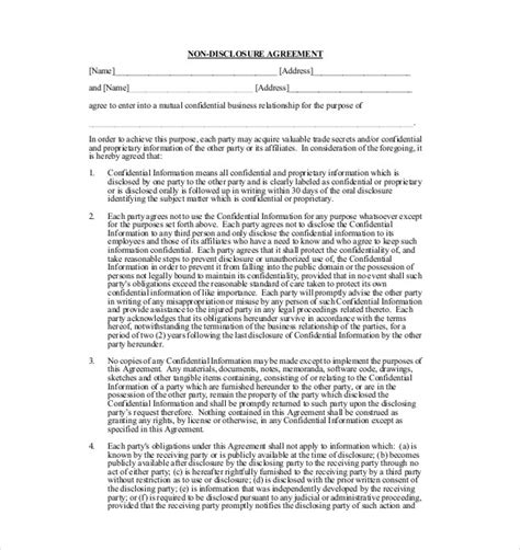 disclosure agreement templates  sample  format   premium
