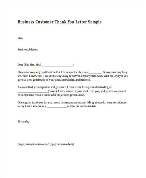 73 Thank You Letter Exles Doc Pdf Customer Thank You Letter Template