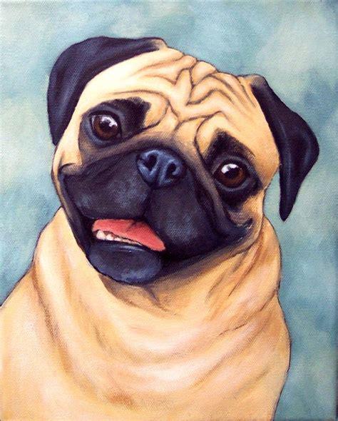 pugs in paintings custom pet portrait pug painting pug