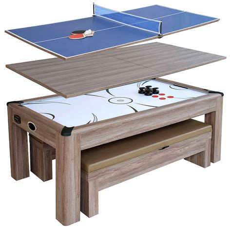 pool bench driftwood 7 ft air hockey table combo set with benches