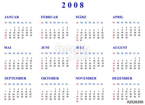 August 2008 Calendar Quot Kalender 2008 Quot Stock Photo And Royalty Free Images On