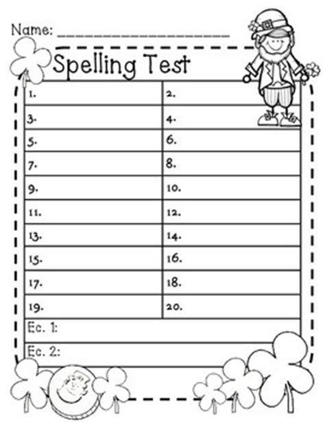 s day test st s day spelling test paper freebie by mrs