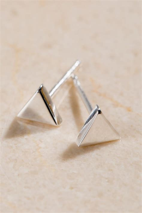 Sterling Silver Studs sterling silver triangle stud earrings s