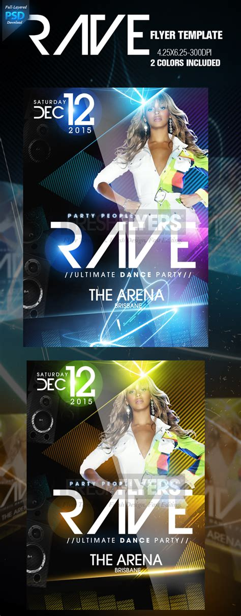 rave psd party flyer template by imperialflyers on deviantart