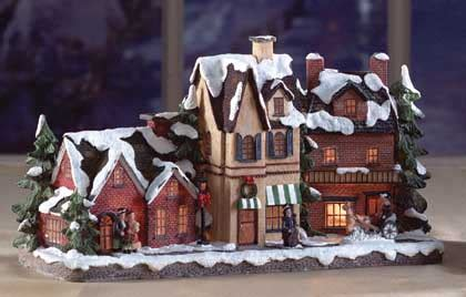 christmas holiday village street with lights