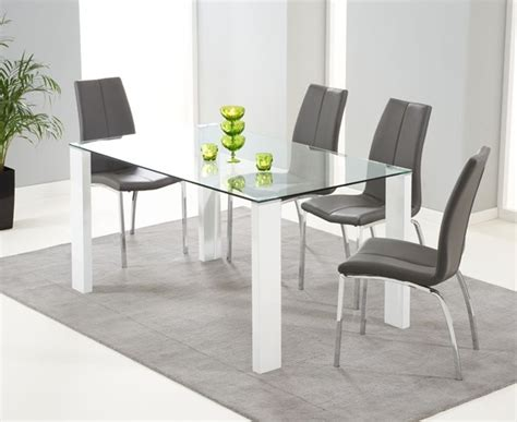 White Dining Table Grey Chairs Harris Lourdes Glass And White Gloss 150cm Dining Table With 4 Carsen Grey Chairs