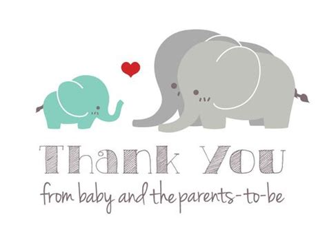 elephant thank you card template buy crafted gender neutral elephant baby shower thank