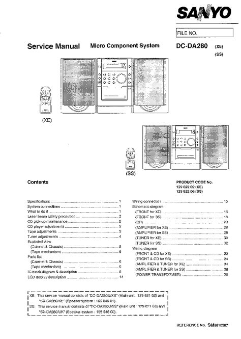 SANYO DC-DA280 Service Manual download, schematics, eeprom