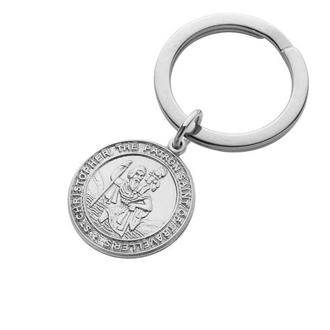 silver st christopher key ring by hersey silversmiths