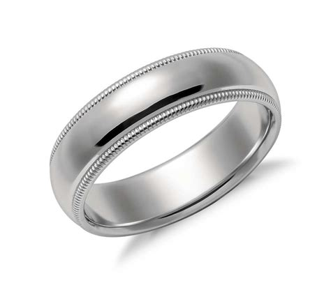 milgrain comfort fit wedding ring in platinum 6mm blue