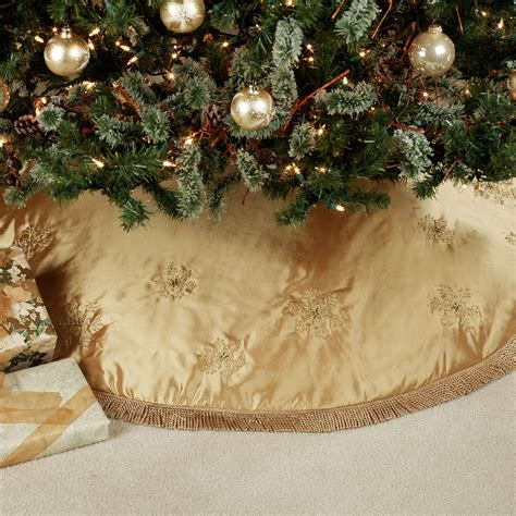 elegant snowflake embroidered christmas tree skirt