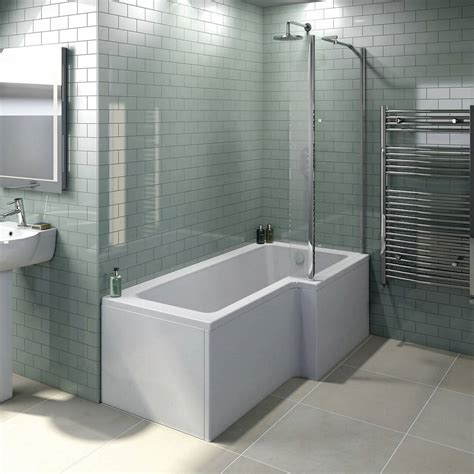 in bath shower boston right handed l shaped shower bath 1700mm with 5mm