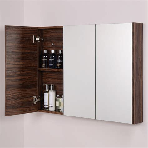 Aspen Bathroom Furniture Aspen 3 Door Walnut Mirror Cabinet 650 H 900 W 100 P