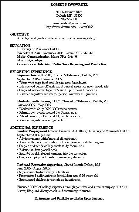 Newspaper Reporter Resume by Television Reporter Resume Sle Resume Writing Service