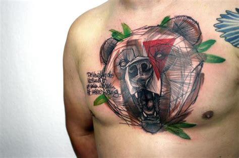 by peter aurisch tattoo fantasy chest bear tattoo by peter aurisch