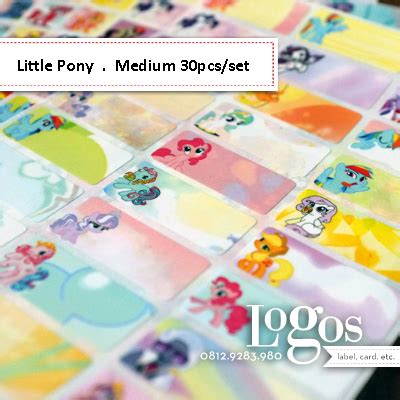 Label Nama Pony L jual my pony sticker medium name label stiker