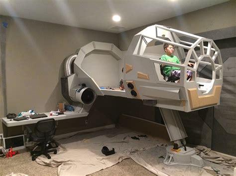 millenium falcon bed dad builds millennium falcon cockpit bed for son geekologie