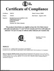 Certification Letter Of Compliance Csa Certificate Hei Vap Series From Heidolph Instruments