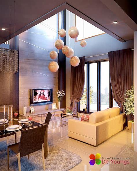 linda decoracion  sala doble altura junto   moderno