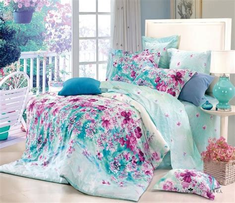 bed comforters teen free shipping flower blue floral cotton queen size 4pc