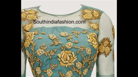 boat neck embroidery youtube boat neck saree blouse deisgns youtube