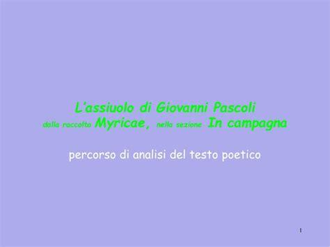 analisi testo l assiuolo analisi poesie di pascoli