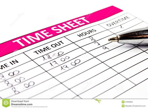 filling time sheet royalty free stock images image 24936859