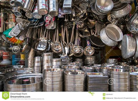 Kitchens Of India Retailers Stainless Steel Utensil On The Market In India Stock Photo