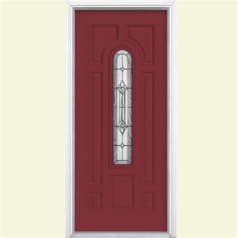 Front Doors Steel Masonite 36 In X 80 In Oakville Lite Painted Steel Prehung Front Door With Brickmold