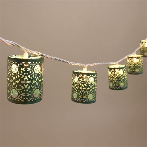 World Market Lights by Turquoise Filigree Cylinder 10 Bulb String Lights World