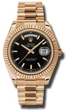 Rolex Automatic Rantai Black 2 rolex day date ii black automatic 18kt gold president s 218235bksp day