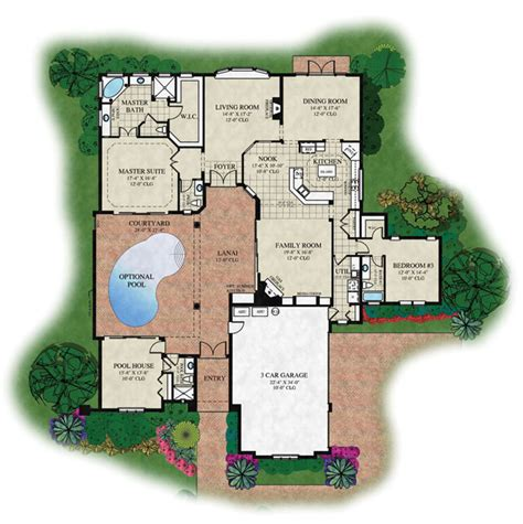 home plans with a courtyard and swimming pool in the center the courtyard v luxury estate home in orlando fl