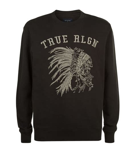lyst true religion embroidered chief sweater in black