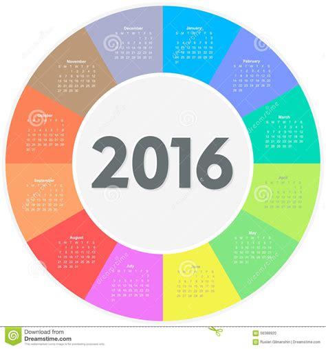 circle calendar template circle calendar for 2016 year stock vector image 56388920