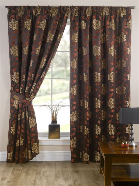 Brown Patterned Curtains Stylish Pencil Pleat Top Lined Flower Pattern Pair Of