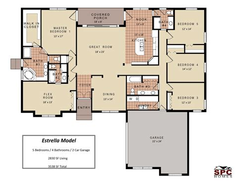 4 bedroom single story floor plans images with beautiful