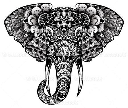 elephant tattoo black ink crew tribal elephant head tattoo design in black ink https