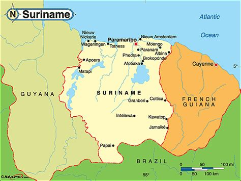 where is suriname on a map suriname politische karte