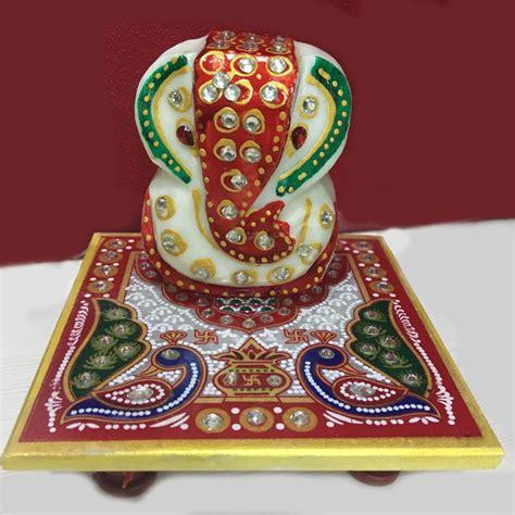 Handmade Ganesh Ji - ganesh ji with chowki
