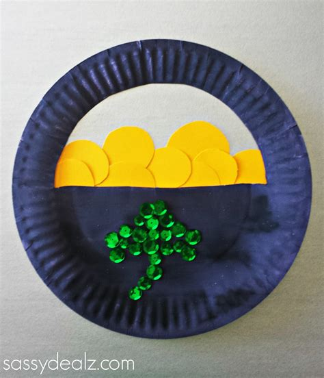 Paper Plate Crafts - paper plate pot of gold craft for st s day