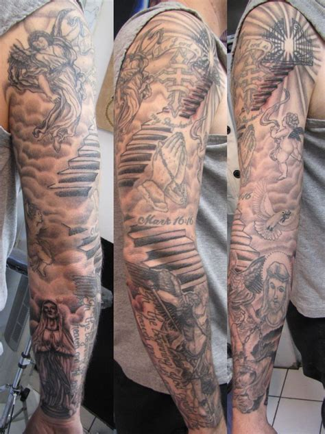 staircase tattoo sleeve tattoos stairs sleeve01