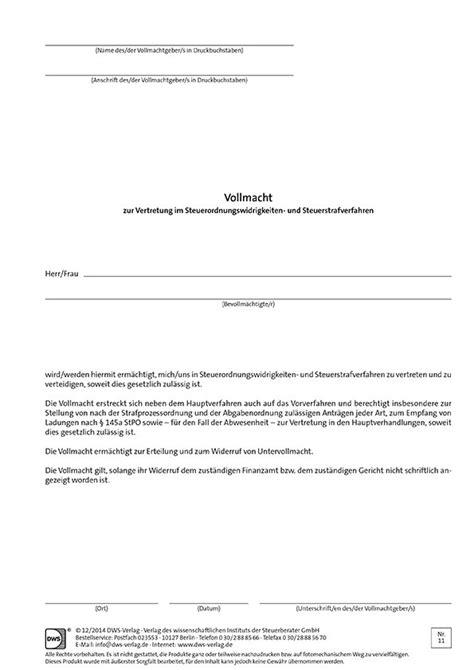 Widerruf Schreiben Muster Vollmacht Zur Vertretung Im Steuerordnungswidrigkeiten Und Steuerstrafverfahren Vollmachten