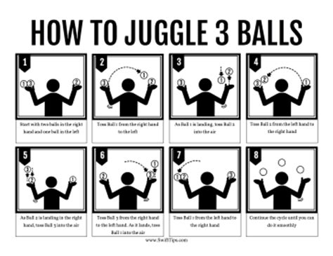 printable juggling instructions how to juggle three balls