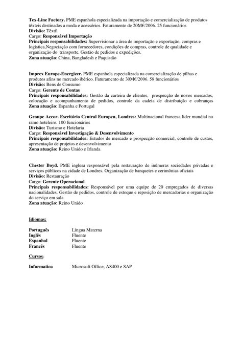 Modelo De Curriculum Vitae Gerente Administrativo Cv Gerente De Vendas