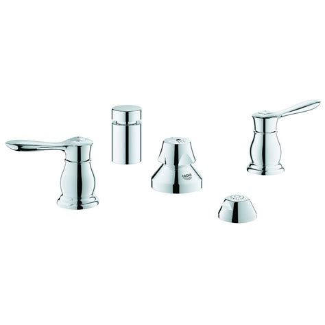 shop grohe parkfield starlight chrome 2 handle widespread bathroom faucet drain included at grohe parkfield 2 handle wideset bidet faucet with handle