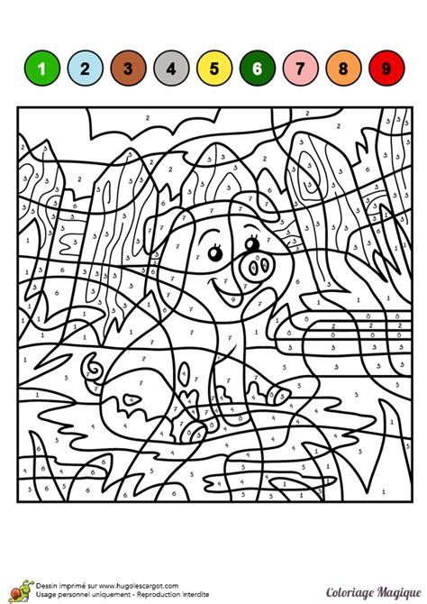 Dessin 224 Colorier D Un Coloriage Magique Cm1 Cochon Dans Coloriage Pour Les Tout Petit En Ligne