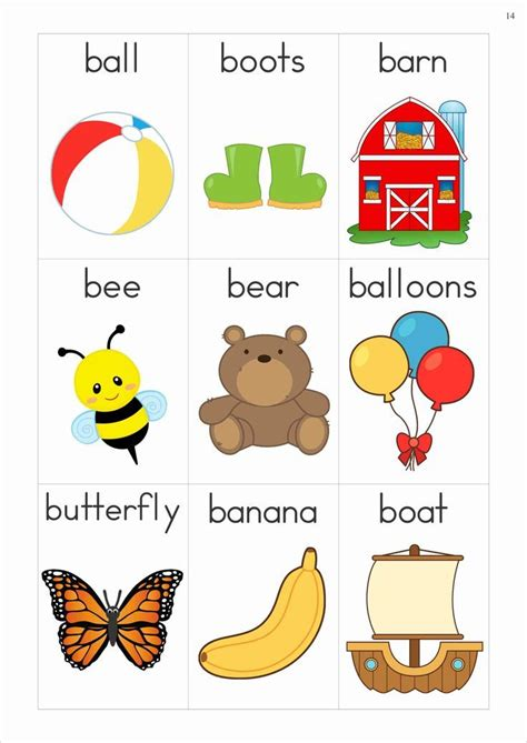 4 Letter Words Phonics alphabet phonics letter of the week b vocabulary cards