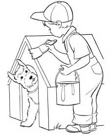 Dog Coloring Pages  Printable Doghouse Painting Page sketch template