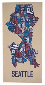 Map Shop Seattle by Original Seattle Typographic Neighborhood Map By Orkposters